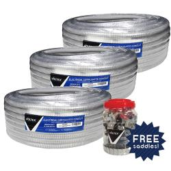 3 x 50m rolls of 25mm Flex Conduit & - 100 Pack of Galv Half Saddles