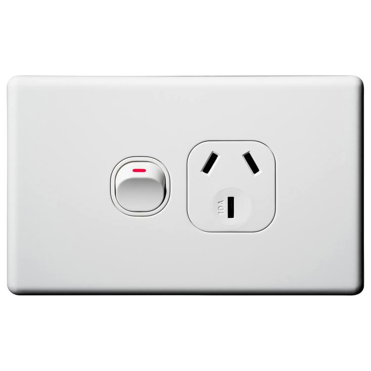 Voltex Classic Horizontal Single Power Outlet 250V 10A with Safety Shutters