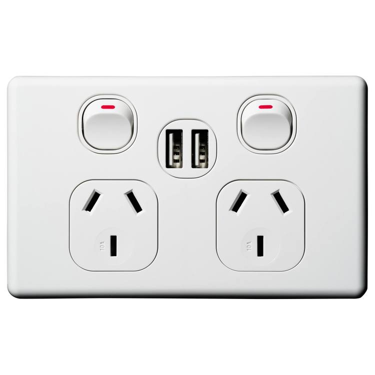 Voltex Classic Double Power Outlet 250V~ 10A & 2 x 2.1 A USB Outlets