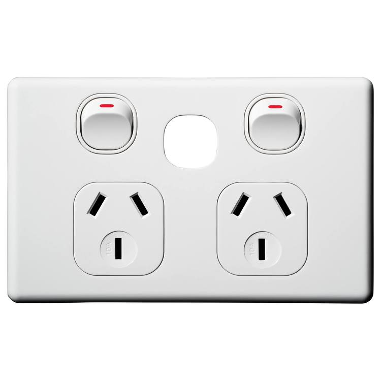 Voltex Classic Horizontal Double Power Outlet 250V 10A with Extra Switch Provision and Safety Shutters