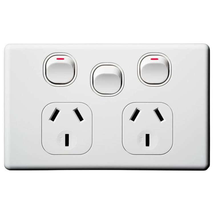 Voltex Classic Horizontal Double Power Outlet 250V 10A with Extra Switch & Safety Shutters