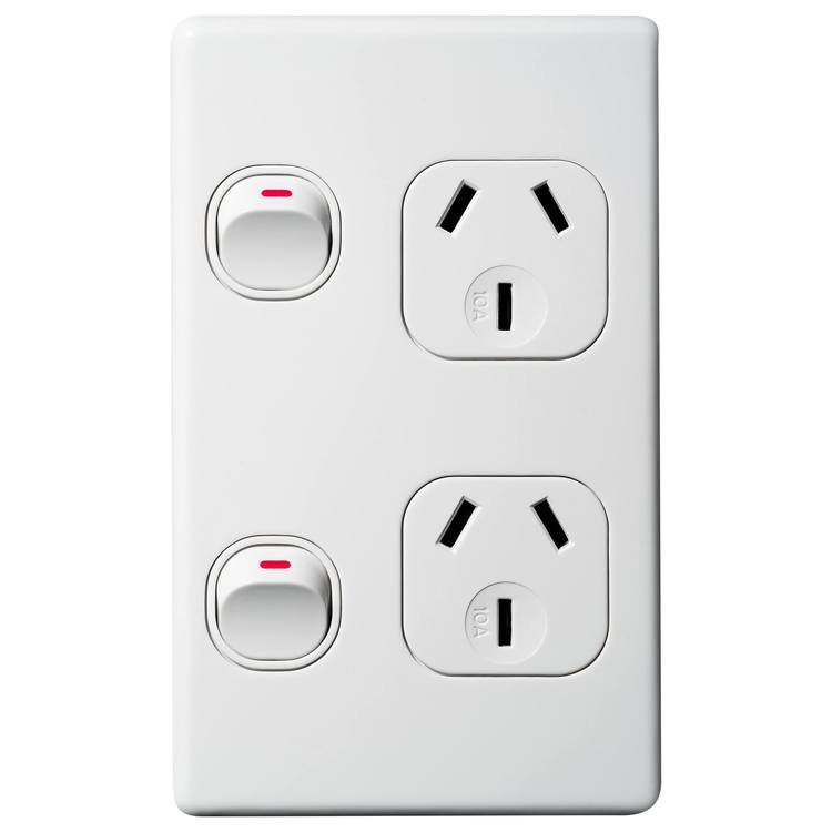 Voltex Classic Vertical Double Power Outlet 250V 10A with Safety Shutters
