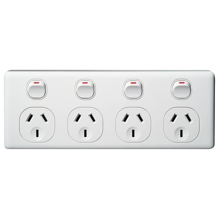 Voltex Classic Four Gang Horizontal Power Outlet 250V 10A