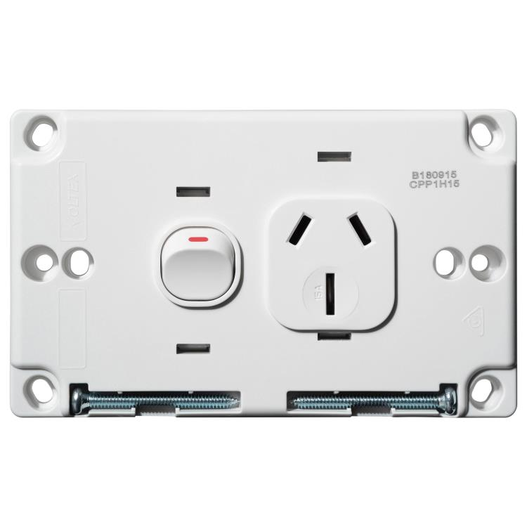 Voltex Classic Horizontal Single Power Outlet 250V 15A with Safety Shutters