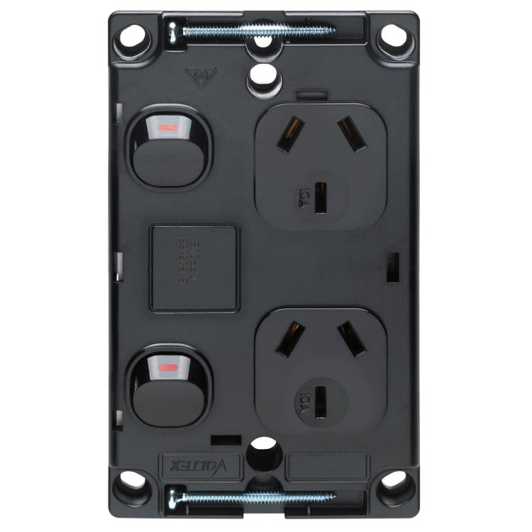 Voltex Classic Black Vertical Double Power Outlet 250V 10A with Safety Shutters